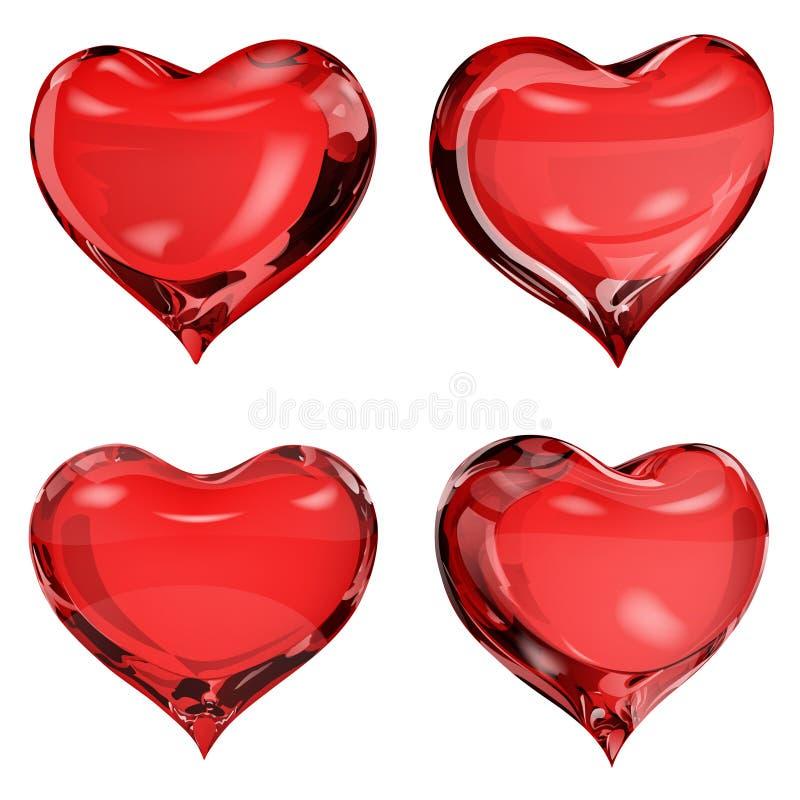 Nieprzezroczyści czerwoni serca ilustracji