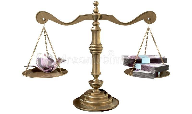 Nierówność Waży sprawiedliwości różnica dochodu Europa zdjęcia stock