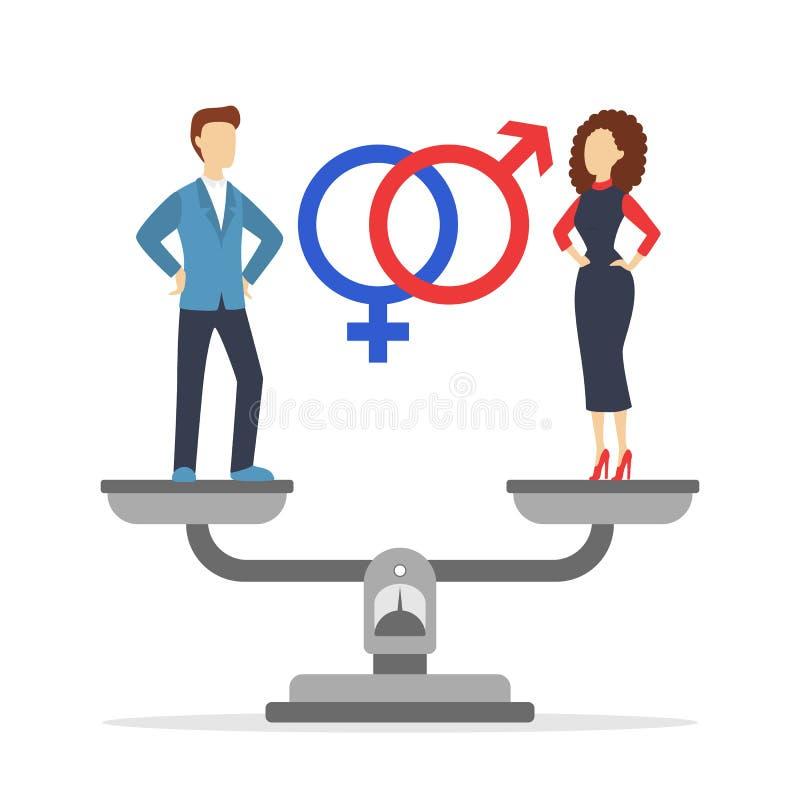 Nierówności w traktowaniu płci sieci sztandaru pojęcie Pomys? r??na pensja ilustracji