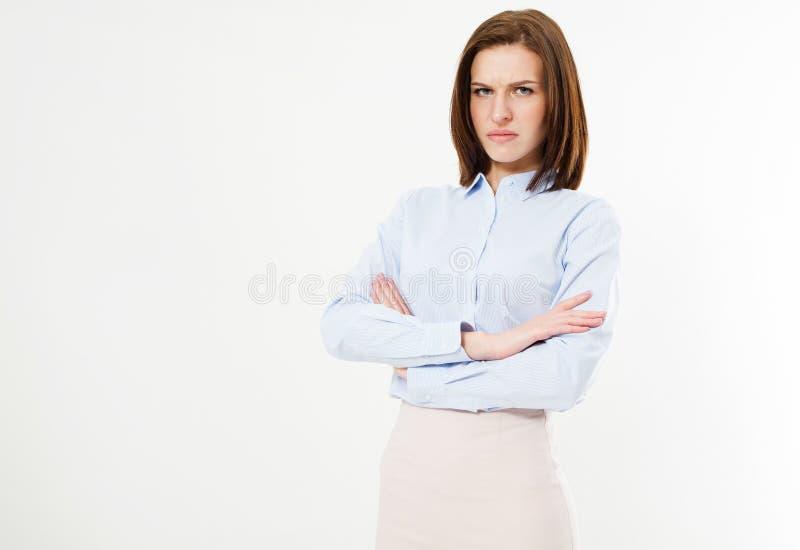 Nierada brunetka w koszula z rękami krzyżować zdjęcia stock