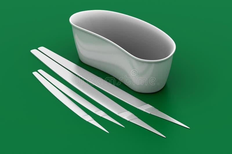 Nierdienblad, medische apparatuur stock illustratie