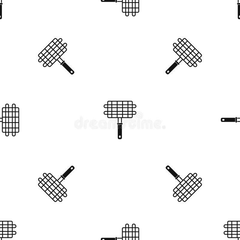 Nierdzewnego grilla grilla kosza campingowego wzoru bezszwowy czerń ilustracja wektor