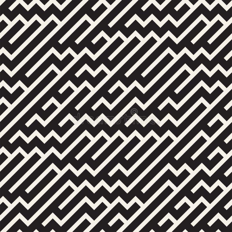 Nieregularni labiryntów kształty Tafluje Współczesnego Graficznego projekt czarny deseniowy bezszwowy wektorowy biel ilustracji