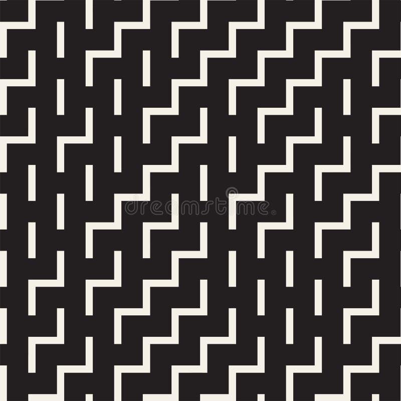 Nieregularni labiryntów kształty Tafluje Współczesnego Graficznego projekt czarny deseniowy bezszwowy wektorowy biel royalty ilustracja