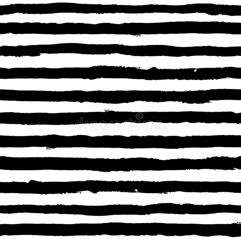 Nieregularny pasiasty muśnięć uderzeń wzór Bezszwowa ręka rysować malować linie royalty ilustracja