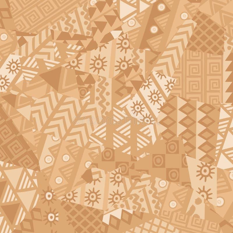 Nieregularny patchworku wzór z afrykańskimi motywami ilustracji
