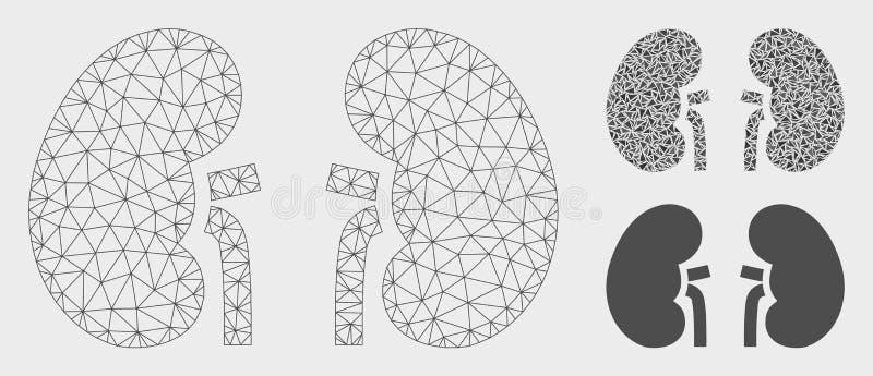 Nieren-Vektor-Maschen-2D Modell-und Dreieck-Mosaik-Ikone vektor abbildung