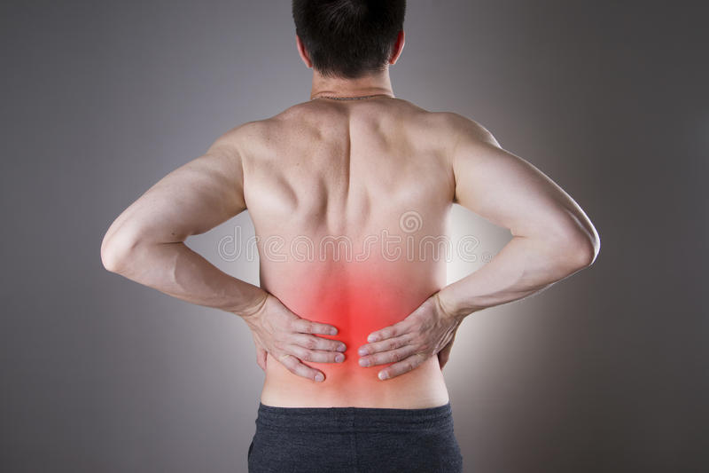 Nierpijn Mens met rugpijn Pijn in het man lichaam stock foto