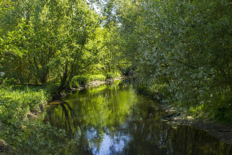 Niers River, Geldern, Germany. Niers River in Geldern, Lower Rhine, Germany stock image