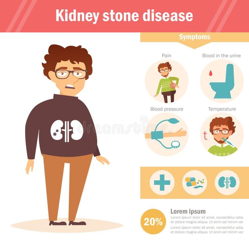 Niersteenziekte Infographics Vector beeldverhaal vector illustratie