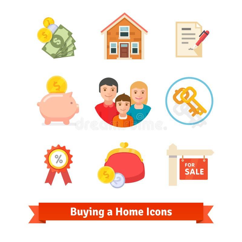 Nieruchomość, dom hipoteka, pożyczka, kupuje ikony royalty ilustracja