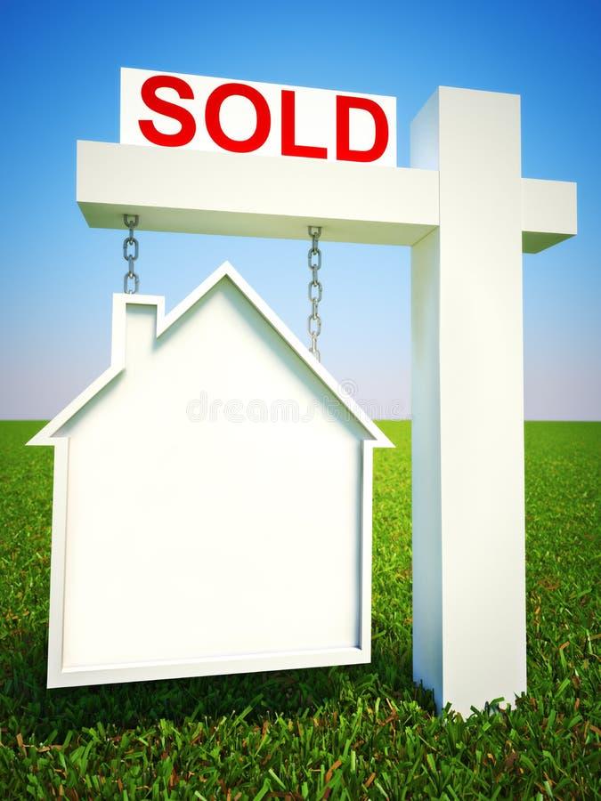 Nieruchomość dom sprzedawał pojęcie znaka z pokojem dla teksta lub kopii przestrzeni zdjęcia stock