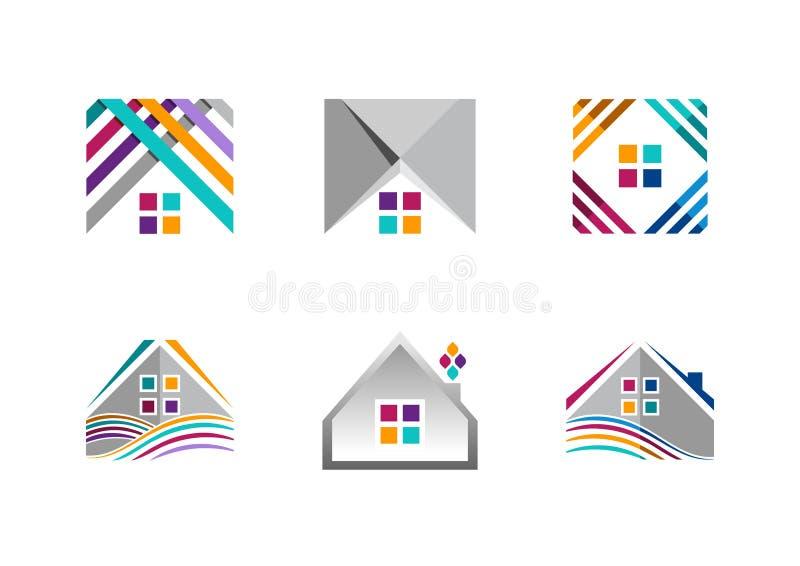 Nieruchomość, domowy logo, buduje mieszkanie ikony, kolekcja domowego budowa symbolu wektorowy projekt royalty ilustracja