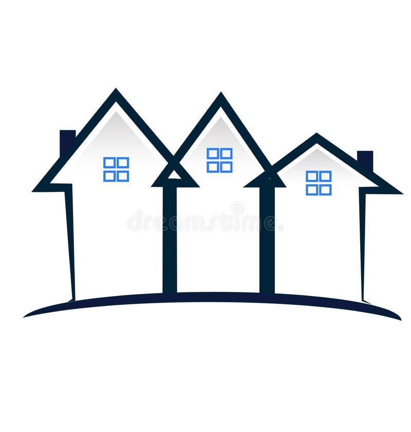 Nieruchomość domu miejskiego społeczności ikony wektoru logo royalty ilustracja