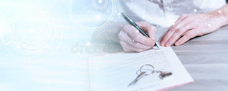 Nieruchomość kontraktacyjny podpis (lorem ipsum tekst używać); wieloskładnikowy ujawnienie zdjęcie royalty free