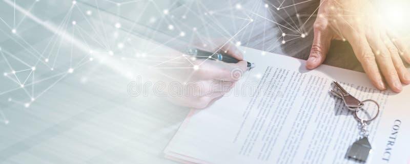 Nieruchomość kontraktacyjny podpis (lorem ipsum tekst używać); wieloskładnikowy ujawnienie obrazy stock