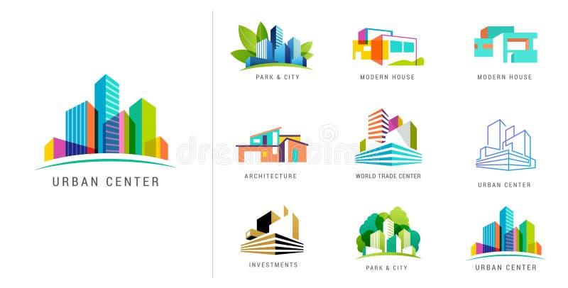 Nieruchomość logo, buduje rozwój, set logo, ikony i elementy, royalty ilustracja