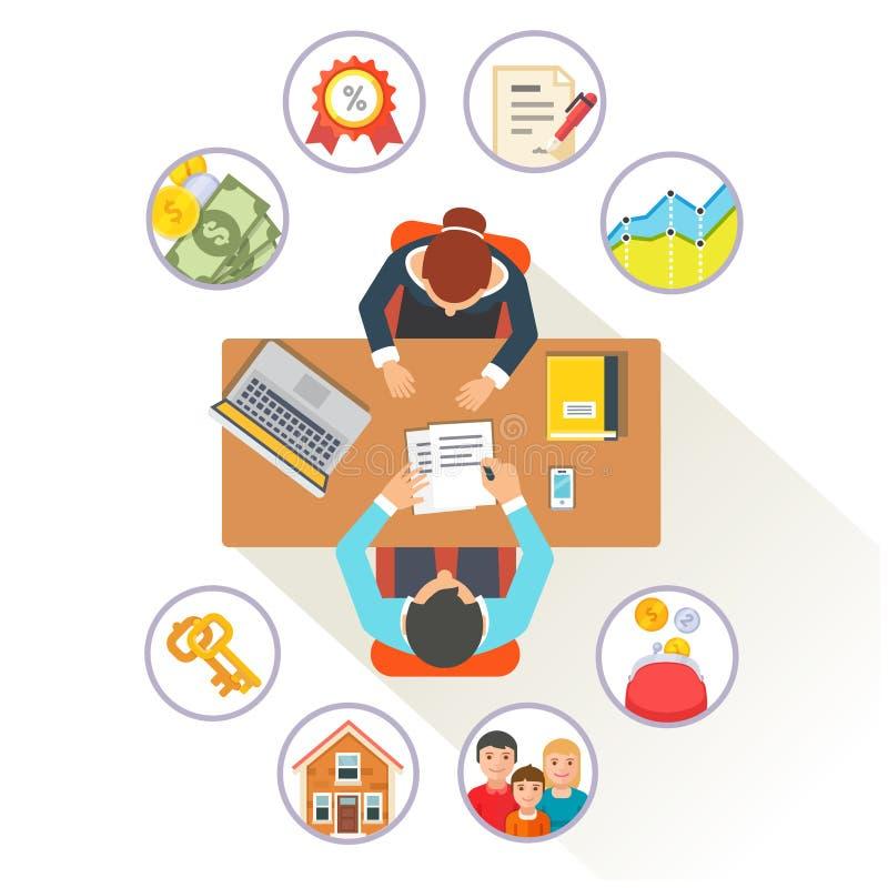 Nieruchomość makler opowiada klient ilustracja wektor