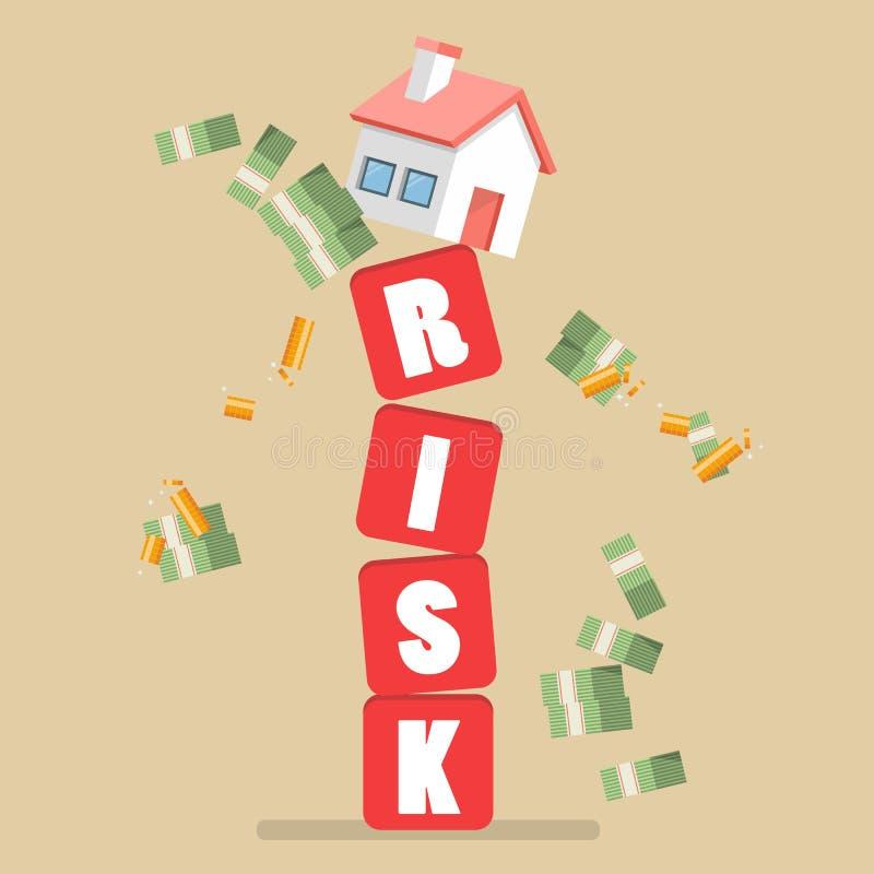 Nieruchomość na drżących ryzyko blokach royalty ilustracja