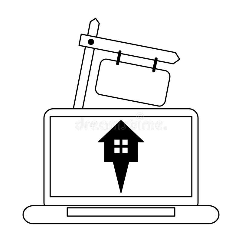 Nieruchomość online w czarny i biały ilustracji