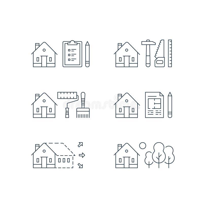 Nieruchomość rozwój, domowy odświeżanie, domowy ulepszenie, farb usługa, skracanie praca, powiększenie, zielony sąsiedztwo ilustracji