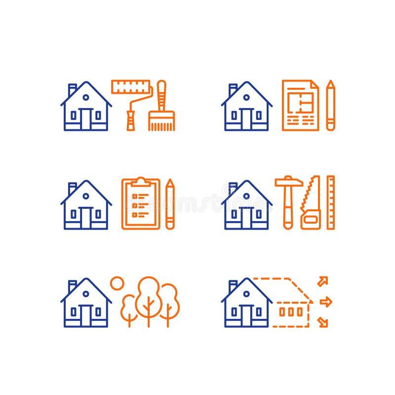 Nieruchomość rozwój, domowy odświeżanie, domowy ulepszenie, farb usługa, skracanie praca, powiększenie, zielony sąsiedztwo royalty ilustracja