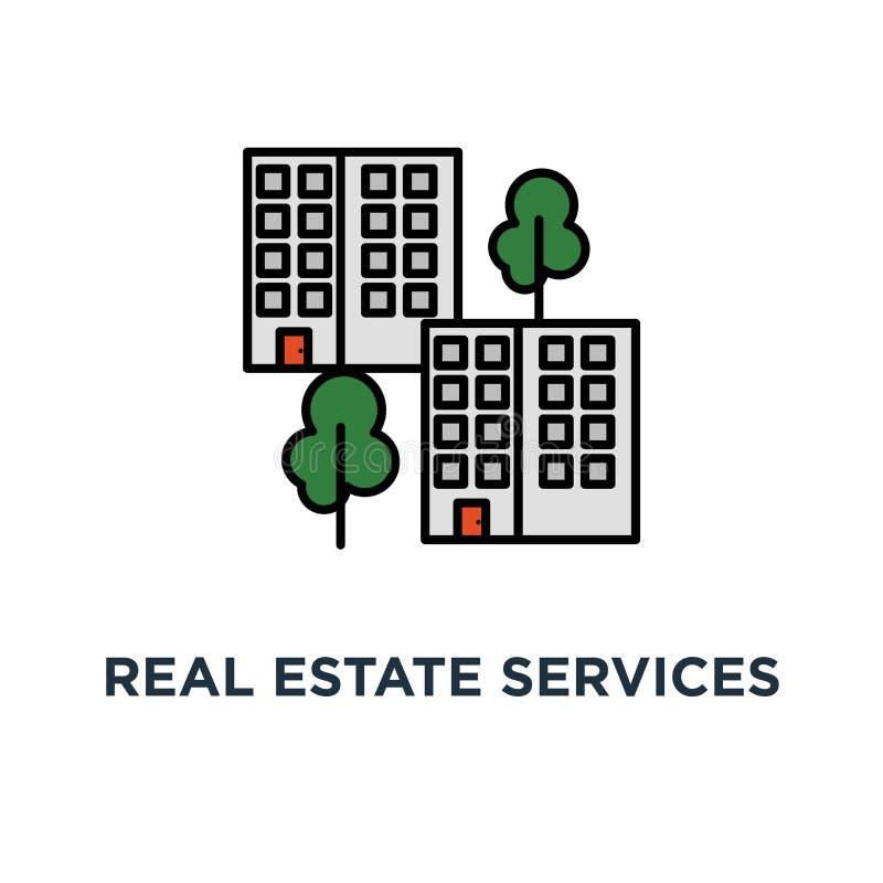 nieruchomość usługuje ikonę mieszkaniowego okręgu pojęcia symbolu projekt, budynek mieszkaniowy, sąsiedztwo, udostępnienia i udog royalty ilustracja