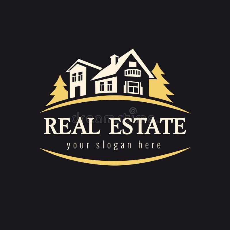 Nieruchomość złoty lasowy logo ilustracja wektor