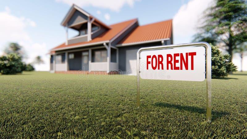 Nieruchomość znak dla czynszu i dom w tle ilustracja wektor