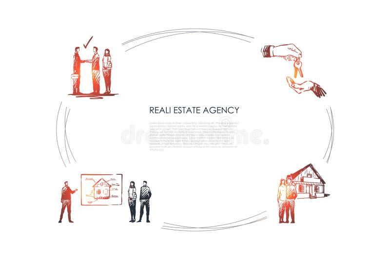 Nieruchomo?ci agencja - prezentacja nowy mieszkanie, transakcja z nowymi kluczami, szcz??liwa rodzina z nowego domu poj?cia wekto royalty ilustracja