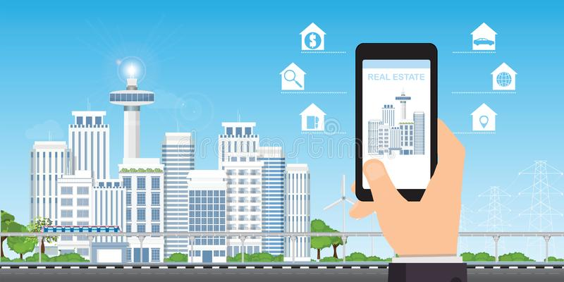 Nieruchomości app pojęcie na telefonu komórkowego ekranie ilustracja wektor
