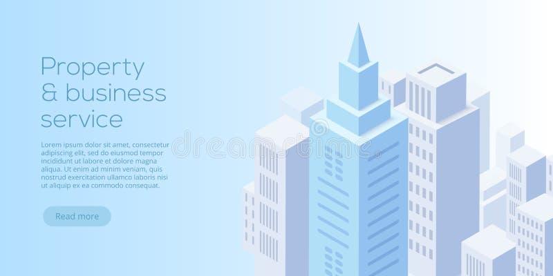 Nieruchomości biznesowa isometric wektorowa ilustracja Kupować, czynsz royalty ilustracja