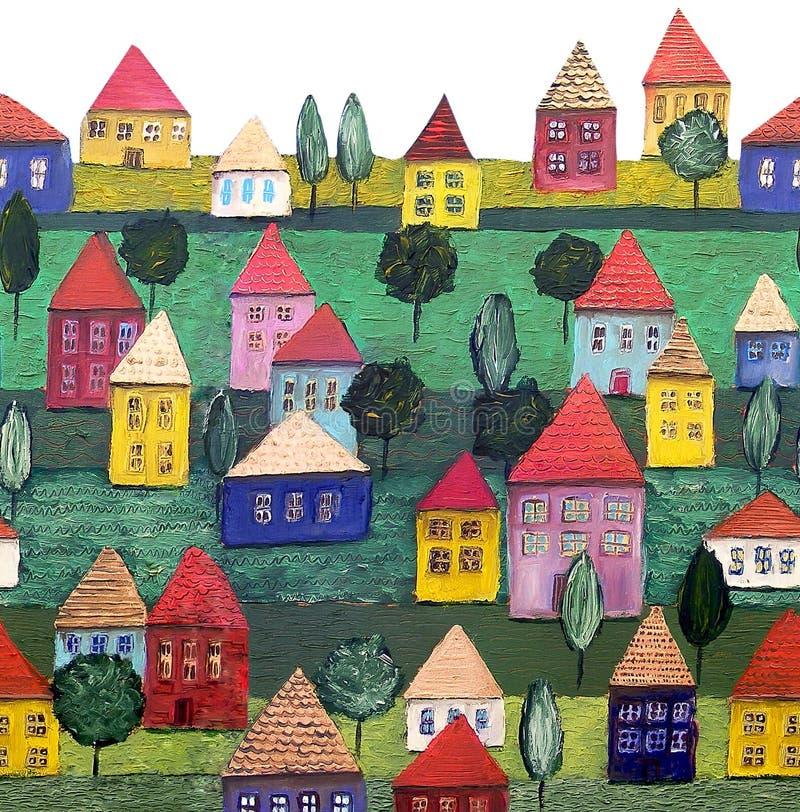 nieruchomości budynki mieszkalne wzór bezszwowy ilustracja wektor