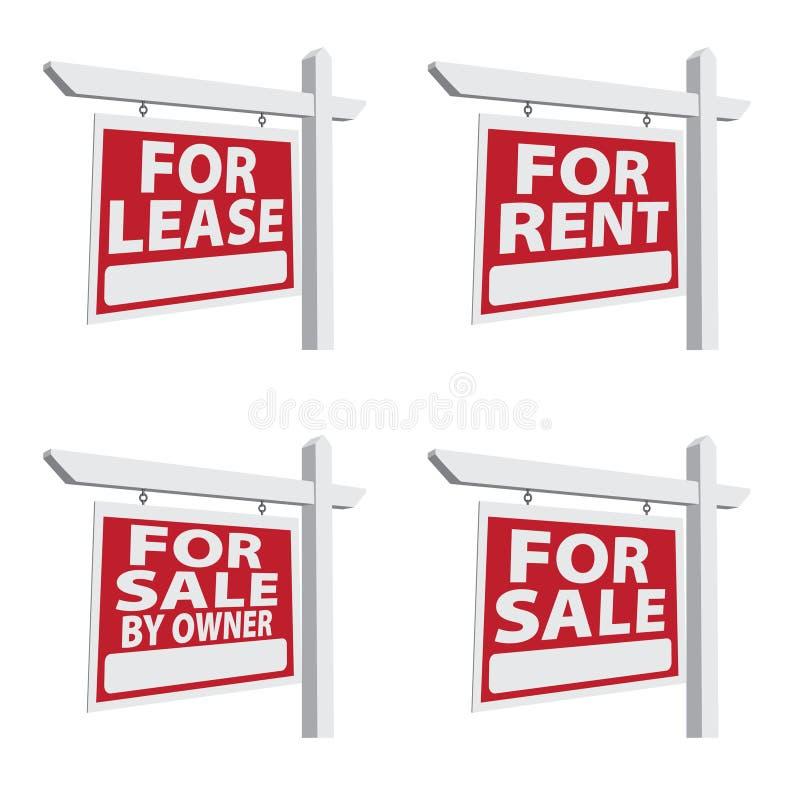 nieruchomości cztery istny ustalony znaków wektor obrazy stock