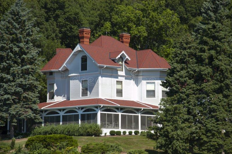 nieruchomości domowi wielcy luksusowi dworu rocznika drewna obraz royalty free