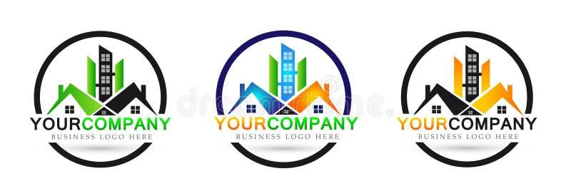 Nieruchomości firmy domu domowego logo ustalona ikona na białym tle ilustracji