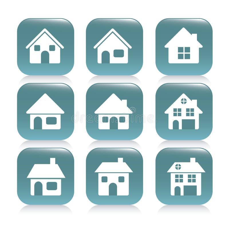 Nieruchomości i domu ikony ilustracja wektor