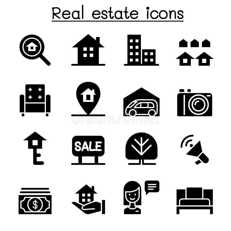 nieruchomości ikony reala set royalty ilustracja