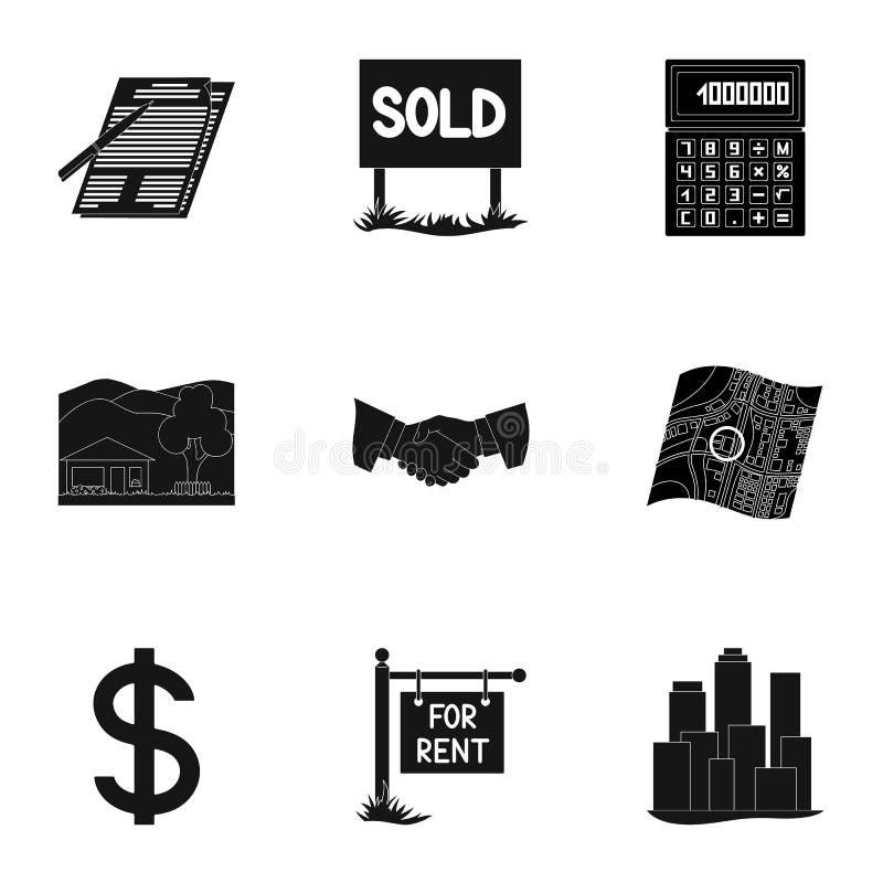 Nieruchomości inny i agencja atrybuty Pośrednik handlu nieruchomościami ustalone inkasowe ikony w czerń stylu wektorowym symbolu  ilustracja wektor