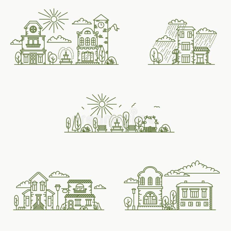 Nieruchomości miasta budynków ikony