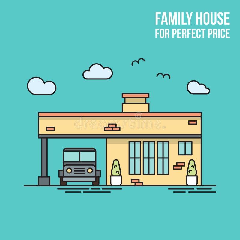 Nieruchomości mieszkania linii sztandar 3d tła rodziny domu ilustraci odosobniony biel Doskonalić cenę royalty ilustracja