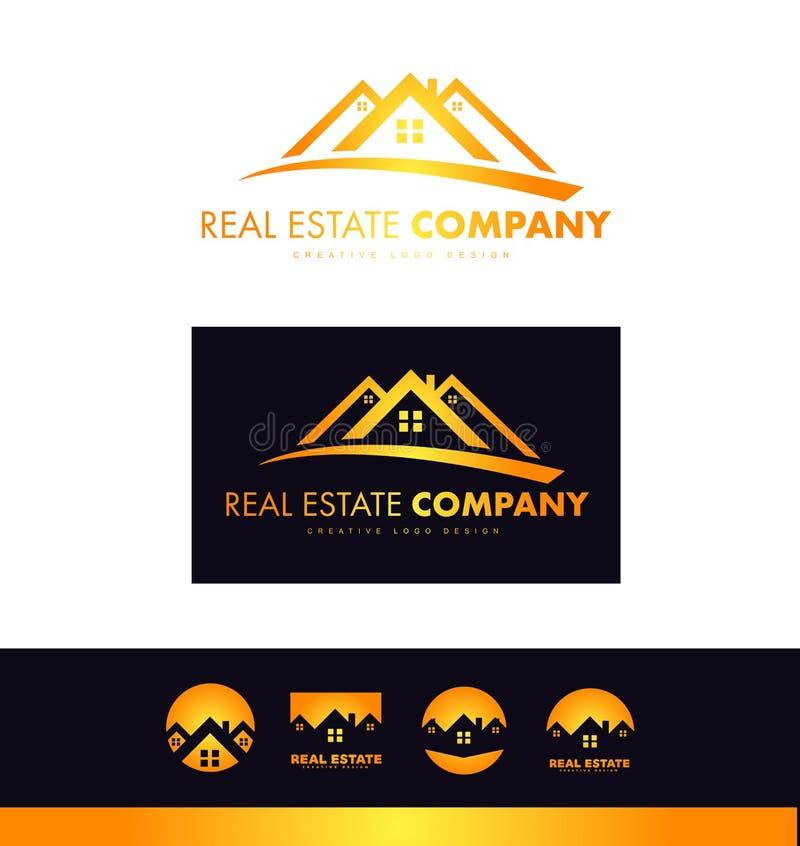 Nieruchomości pomarańcze domu dachu loga ikony projekt ilustracji