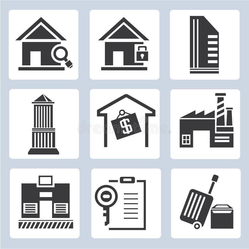 Nieruchomości zarządzania ikony ilustracja wektor