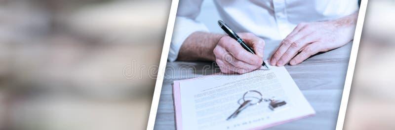 Nieruchomo?? kontraktacyjny podpis (lorem ipsum tekst u?ywa?) sztandar panoramiczny obrazy stock