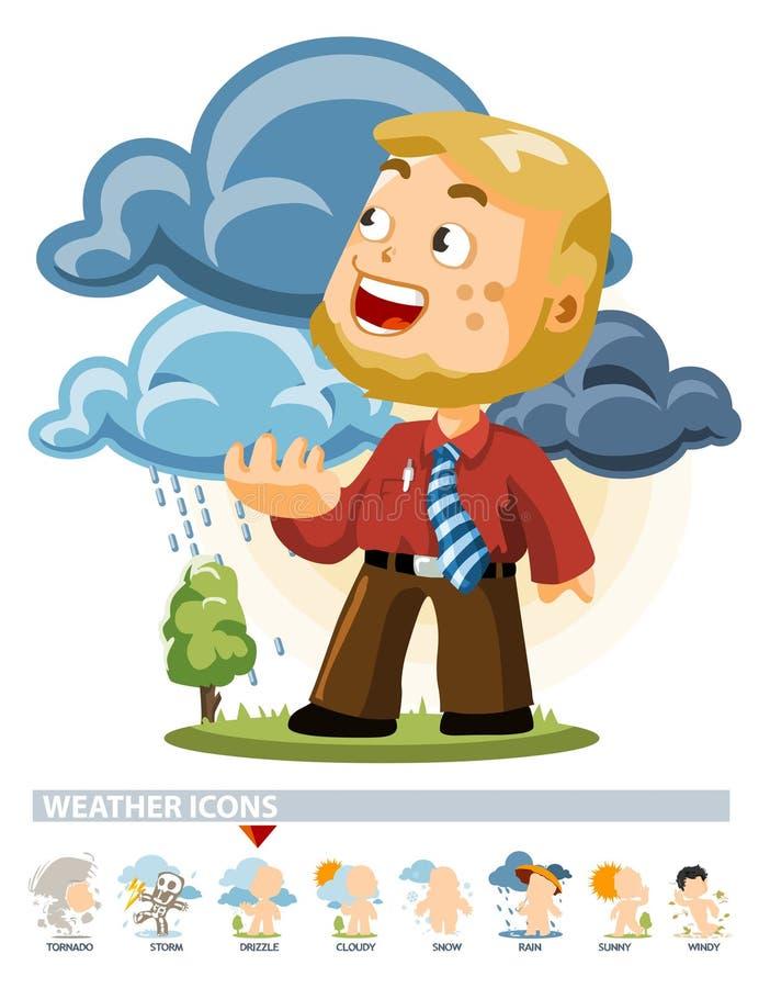 Nieselregen. Wetter-Ikone stock abbildung
