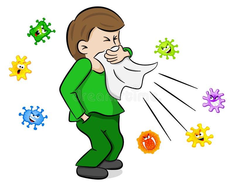 Niesender Mann mit Mikroben stock abbildung