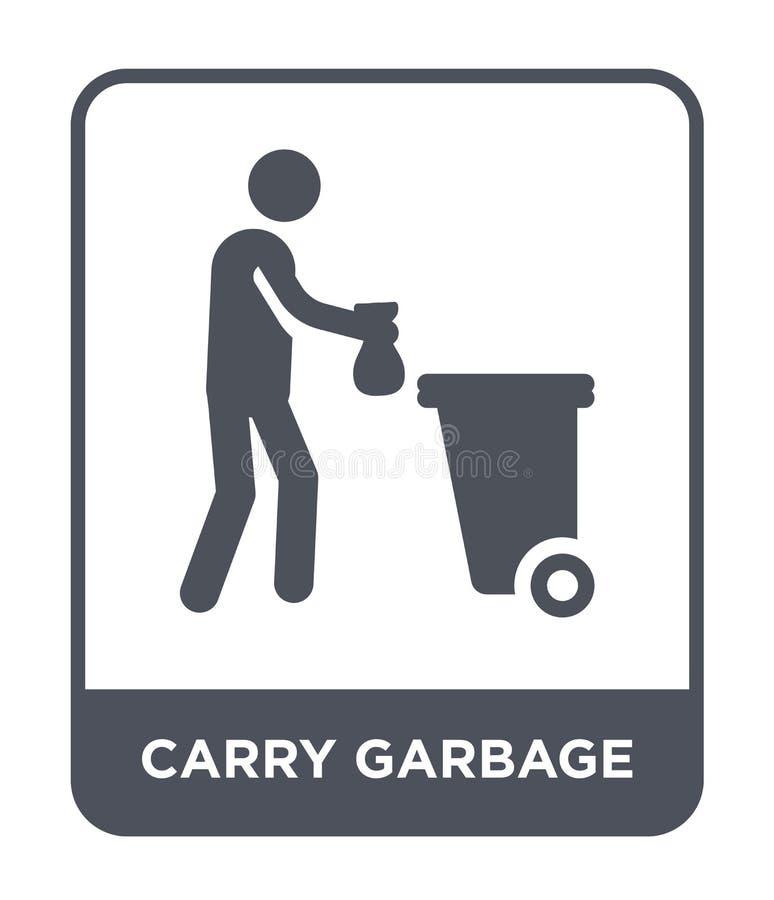 niesie śmieciarską ikonę w modnym projekta stylu niesie śmieciarską ikonę odizolowywającą na białym tle niesie śmieciarską wektor ilustracji