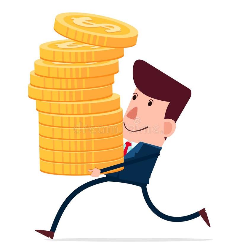 Niesie stertę monety ilustracja wektor