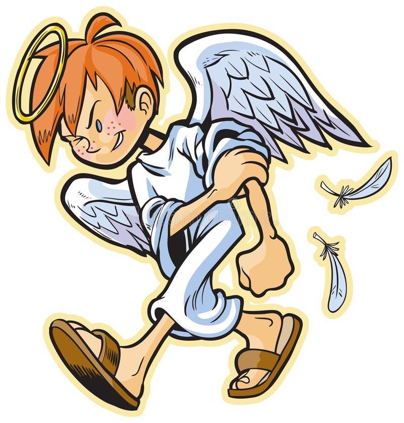 Nieskładny anioł z czerwoną włosianą wektorową kreskówką royalty ilustracja