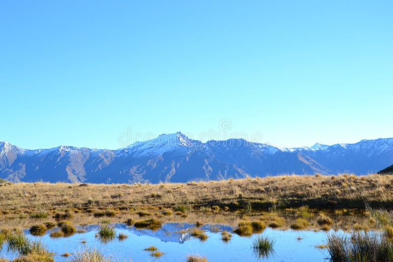 Nieskazitelny plenerowy krajobraz wokoło jeziornego wanaka zdjęcia stock